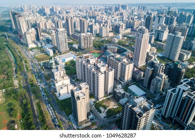 Hsinchu, Taiwan - March 19, 2018: Zhubei City Skyline. Asia modern business concept image, panoramic cityscape birds eye view use the drone, shot in Hsinchu, Taiwan.