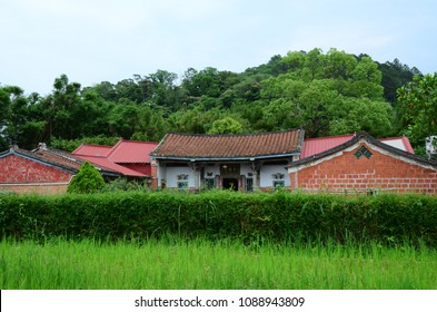 Hsinchu, Taiwan- May 4, 2018:Traditional Taiwanese old house in countryside. Old Sanheyuan in Taiwan.