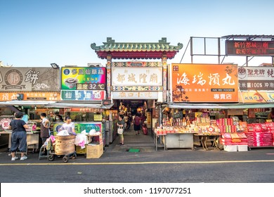 Hsinchu, Taiwan - Sep 14, 2018: People are shopping around the Hsinchu City God Temple