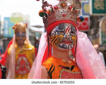 HSINCHU,TAIWAN-AUGUST 14:People acted spirits in a Ghost Festival parade in Hsinchu, Taiwan on August 14, 2011.Ghost Festival is an important occasion celebrated on the 15th day of the 7th lunar month