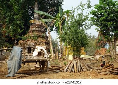 HSIPAW, MYANMAR - CIRCA APRIL 2017 Inner yard of Maha Nanja Kantha Monastery