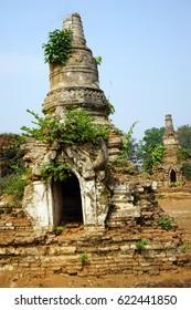 HSIPAW, MYANMAR - CIRCA APRIL 2017 Stupas in Maha Nanja Kantha Monastery