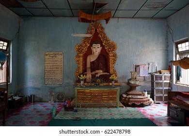 HSIPAW, MYANMAR - CIRCA APRIL 2017 Buddha in monastery