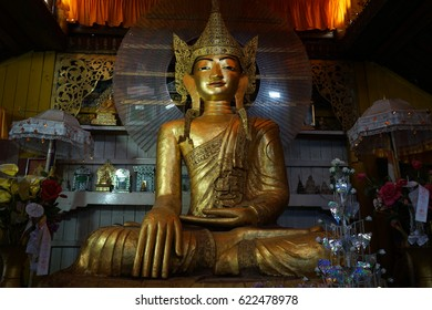 HSIPAW, MYANMAR - CIRCA APRIL 2017 Buddha in Maha Nanja Kantha Monastery