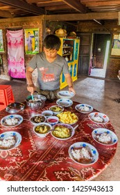 HSIPAW, MYANMAR - DECEMBER 1, 2016: Lunch in a homestay for the participants of a guided hike around Hsipaw, Myanmar
