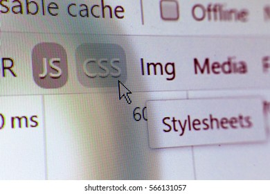 HTML code developing. Abstract web site source listing with colored syntax. Image with blur, pixels and moire rainbow effect