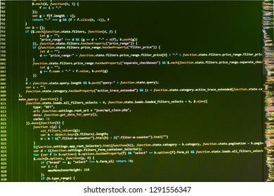 HTML code on the screen editor, dark screen,  Programmer working in computer screen,  React HTML, native concept on LCD,  Php language and coding function developer,  Computer interface