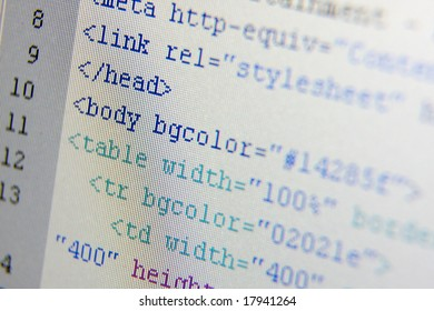 HTML codes closeup