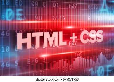 HTML and css abstract concept blue text blue background