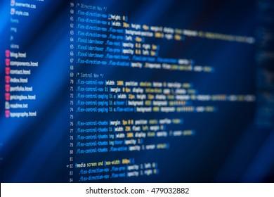 HTML CSS Code Developing Screenshot Stock Photo (Edit Now