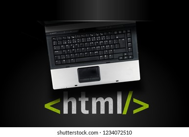 HTML Hyper Text Markup Language. laptop on html tah