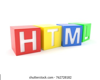 HTML text isolated on white background. 3d illustration