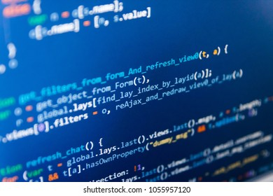 HTML5 in editor for website development. Programmer typing new lines of HTML code. Programming code typing. Software abstract background. New technology revolution. Coding hacker concept.