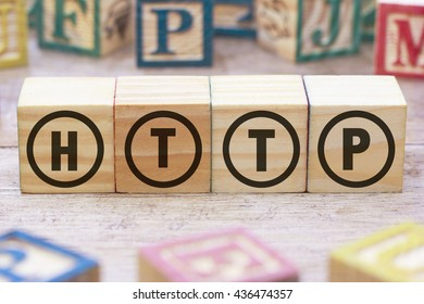 HTTP word written on wood cube