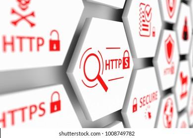 HTTPS concept cell blurred background 3d illustration