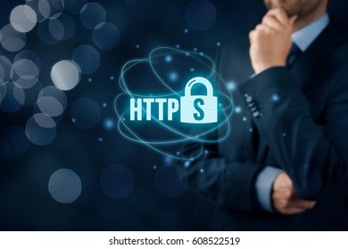 HTTPS - secured internet concept. Businessman or programmer think about https.