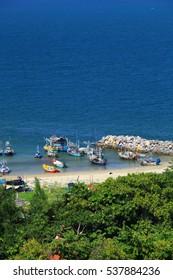 Hua- Hin beach and ship, is famous, Thailand.