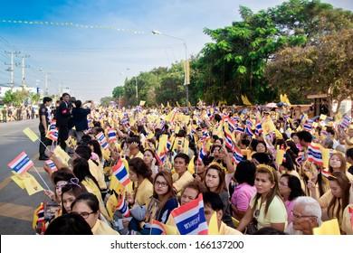 HUA HIN- DECEMBER 5: Thai people celebrate  86th birthday of HM King Bhumibol Adulyadej on December 5, 2013 in Hun Hin, Thailand.