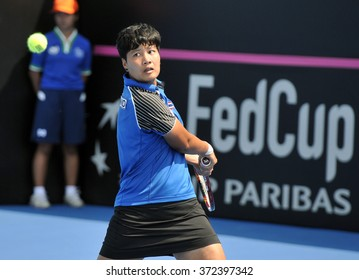 HUA HIN - Feb 5 : Luksika Kumkhum of Thailand in action during a match of Fed Cup by BNP Paribas Zone Asia/Oceania Group1 at True Arena Hua Hin on February 5, 2016 in Hua Hin, Thailand