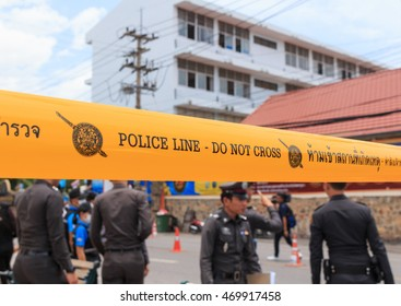 HUA HIN THAILAND - 17 AUGUST : Police into the area to reassure tourists after the bomb blast on 17 August, 2016 at Hua Hin Prachuapkhirikhan Thailand.
