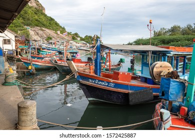 Hua Hin, Thailand, 27 NOV 2019:The local fishing boats at fisherman village Khao Takiab Prachuap Khiri Khan province Thailand