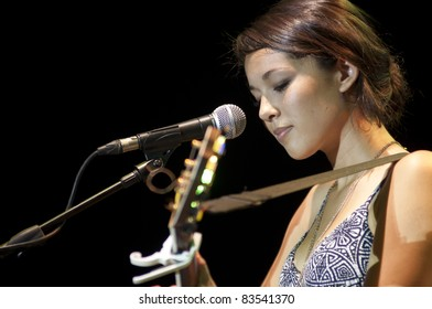 HUA HIN, THAILAND - AUGUST 27: Kina Grannis performs at the Hua Hin Jazz Festival on August, 27, 2011 in Hua Hin, Thailand.