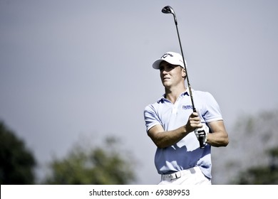 HUA HIN THAILAND - DECEMBER 19: Swedish golfer Alexander Noren in action during the final day of Black Mountain Masters 2010 on December 19, 2010 at Black Mountain Golf Club in Hua Hin Thailand