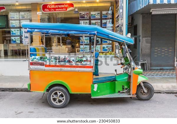 HUA HIN, THAILAND - JAN 11: Tuk Tuk at Hua Hin on May 25, 2014 in Hua Hin. Tuk Tuk is a samll taxi which is popular transportation in Hua Hin.