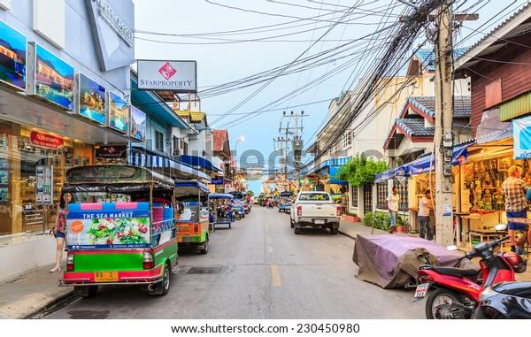 HUA HIN, THAILAND - Jan 11, 2014: Cityscape of Hua Hin on Jan 11, 2014  in Hua Hin.  Hua Hin is a beach resort town in Thailand, in the northern part of the Malay Peninsula, some 200 km south of Bangkok.