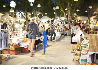 HUA HIN, THAILAND - JANUARY 13: Unidentified Tourist Shopping at Cicada Night Market in Huahin on January 13,2018