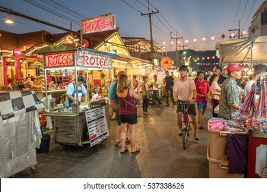 HUA HIN, THAILAND - JANUARY 23: The famous night market on January 23, 2016 in Hua Hin. Hua Hin is a major tourist destination in northern Thailand.