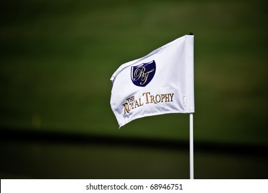 HUA HIN, THAILAND - JANUARY 7: The Royal Trophy golf flag pole on the 8th hole of The Royal Trophy tournament, Europe VS Asia on January 9, 2011 at Black Mountain Golf Club in Hua Hin, Thailand