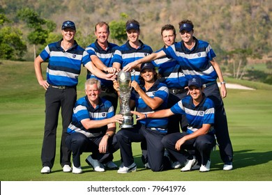HUA HIN, THAILAND - JANUARY 9: European team pose with the trophy as they win the tournament on day 3 of The Royal Trophy Europe VS Asia on January 9, 2011 at Black Mountain Golf Club in Hua Hin, Thailand