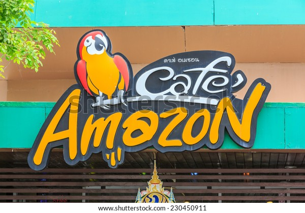 HUA HIN, THAILAND - JUN 14: Cafe Amazon logo on Jun 14, 2014 in Hua Hin. It's a famous Thai frachise coffee house in Thailand, located in almost PTT gas station.