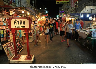 HUA HIN, THAILAND - MAY 01, 2016: Unidentified Tourists visit Hua Hin night market. Here is the biggest night market in urban town and very famous for Foreign and Thai local visitors.