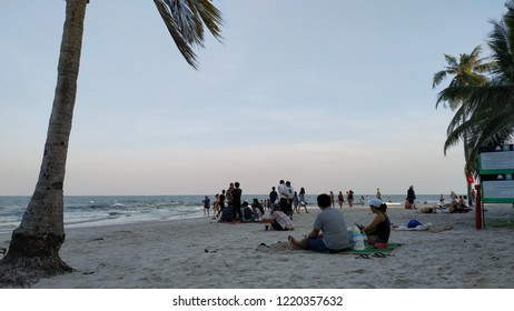 Hua Hin Thailand on November 03, 2018: People was enjoying time during sunset on the beach