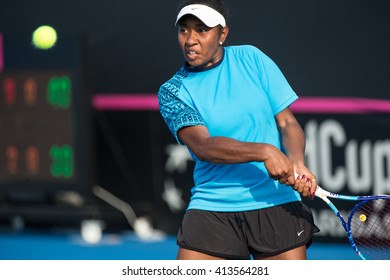 HUA HIN, THAILAND-APRIL 11:Abigail Tere-Apisha of Papua New Guinea returns a ball during Day 1 of Fed Cup by BNP Paribas on April 11, 2016 at True Arena Hua Hin in Hua Hin, Thailand