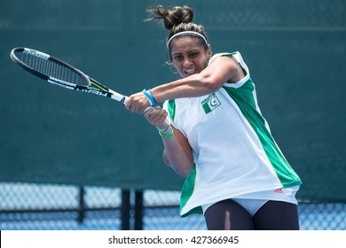HUA HIN, THAILAND-APRIL 12:Ushna Suhail of Pakistan returns a ball during Day 2 of Fed Cup by BNP Paribas on April 12, 2016 at True Arena Hua Hin in Hua Hin, Thailand