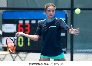 HUA HIN, THAILAND-APRIL 13:Katharina Lehneart of Philippines returns a ball during Day 3 of Fed Cup by BNP Paribas on April 13, 2016 at True Arena Hua Hin in Hua Hin, Thailand