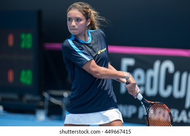 HUA HIN, THAILAND-APRIL 14:Katharina Lehneart of Philippines returns a ball during Day 4 of Fed Cup by BNP Paribas on April 14, 2016 at True Arena Hua Hin in Hua Hin, Thailand