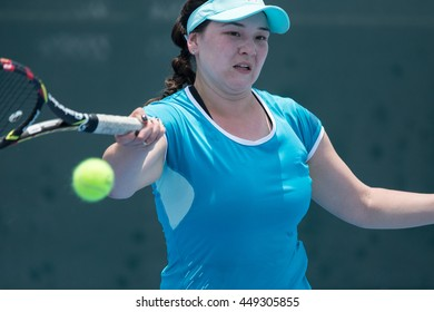 HUA HIN, THAILAND-APRIL 14:Nelli Buyuklianova of Kyrgyzstan returns a ball during Day 4 of Fed Cup by BNP Paribas on April 14, 2016 at True Arena Hua Hin in Hua Hin, Thailand