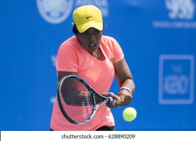 HUA HIN, THAILAND-APRIL 25:Watsachol Sawasdee of Thailand returns a ball during Day 2 of ITF Thailand Women's Pro Circuit on April 25, 2017 at True Arena Hua Hin in Hua Hin, Thailand
