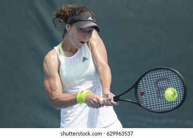 HUA HIN, THAILAND-APRIL 26:Estelle Cascino of France returns a ball during Day 3 of ITF Thailand Women's Pro Circuit on April 26, 2017 at True Arena Hua Hin in Hua Hin, Thailand