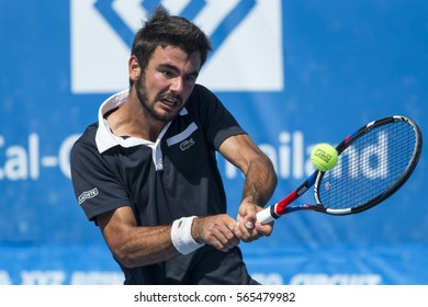 HUA HIN, THAILAND-DECEMBER 30:Fabien Reboul of France returns a ball during Day 5 of ITF Pro Circuit Thailand Men's F6 on December 30, 2016 at True Arena Hua Hin in Hua Hin, Thailand