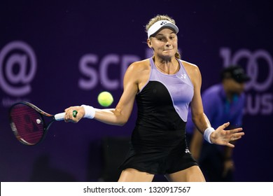 HUA HIN, THAILAND-FEBRUARY 2:Dayana Yastremska of Ukraine returns a ball during Semi Final Round of 2019 Toyota Thailand Open on February 2, 2019 at True Arena Hua Hin in Hua Hin, Thailand