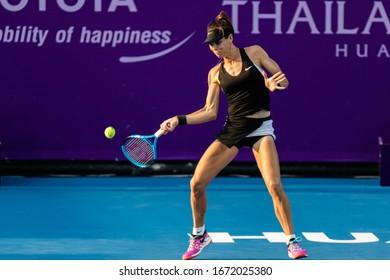 HUA HIN, THAILAND-FEBRUARY 3:Ajla Tomljanovic of Australia returns a ball during the final round of 2019 Toyota Thailand Open on February 3, 2019 at True Arena Hua Hin in Hua Hin, Thailand