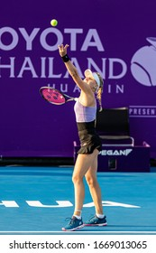 HUA HIN, THAILAND-FEBRUARY 3:Dayana Yastremska of Ukraine serves during the final round of 2019 Toyota Thailand Open on February 3, 2019 at True Arena Hua Hin in Hua Hin, Thailand