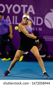 HUA HIN, THAILAND-FEBRUARY 3:Dayana Yastremska of Ukraine in action during the final round of 2019 Toyota Thailand Open on February 3, 2019 at True Arena Hua Hin in Hua Hin, Thailand