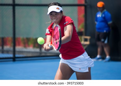 HUA HIN, THAILAND-FEBRUARY 4:Nao Hibino of Japan prepares to return a ball during Day 2 of Fed Cup by BNP Paribas on February 4, 2016 at True Arena Hua Hin in Hua Hin, Thailand