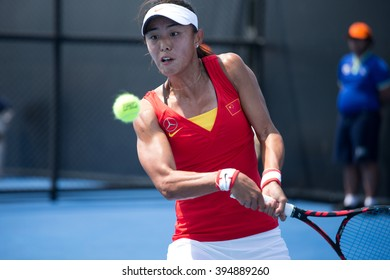 HUA HIN, THAILAND-FEBRUARY 4:Qiang Wang of China returns a ball during Day 2 of Fed Cup by BNP Paribas on February 4, 2016 at True Arena Hua Hin in Hua Hin, Thailand